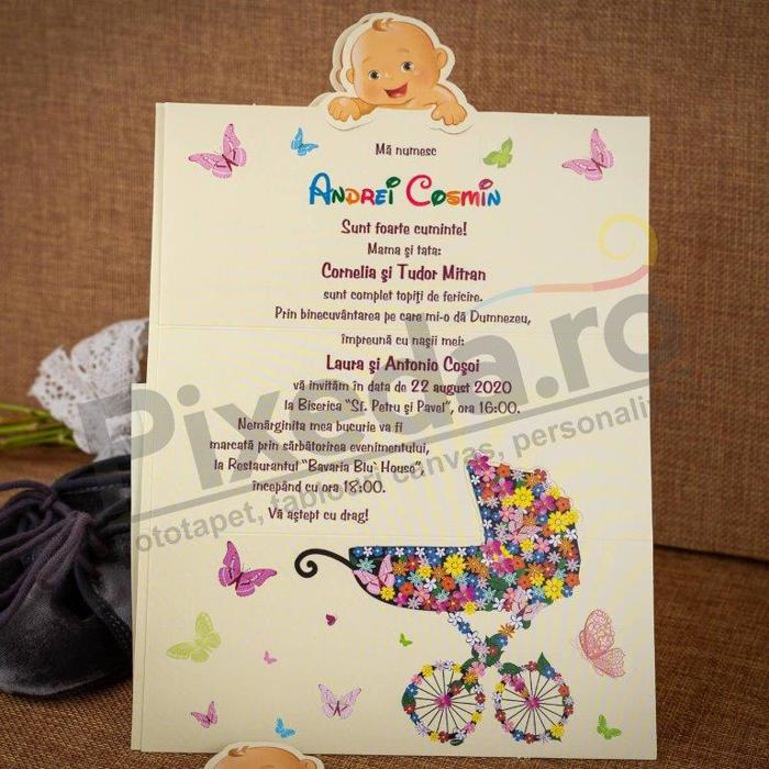 Imagine Invitatii de botez 125 crem bebeluș cu căruț
