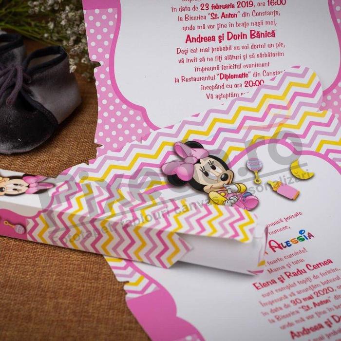 Imagine Invitatie de botez 139 Baby Minnie Mouse