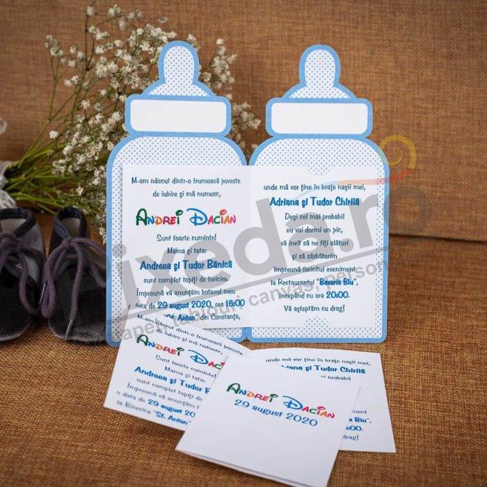 Imagine Invitatii de botez 144 biberon albastru