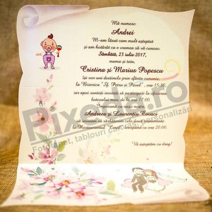 Imagine Invitatie nunta si botez 5011 miri pe norișor