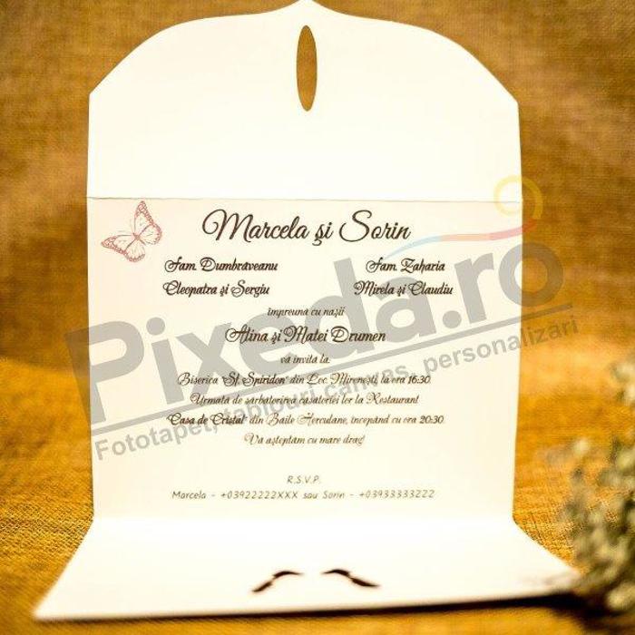 Imagine Invitatii nunta 9033 bijuterie fluture