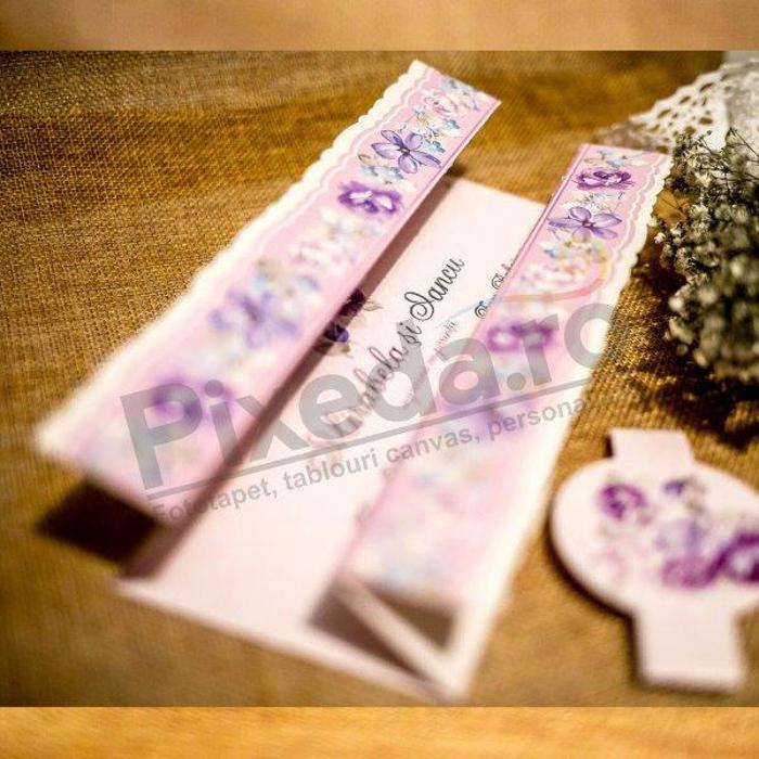 Imagine Invitatii nunta 9089motive florale mov