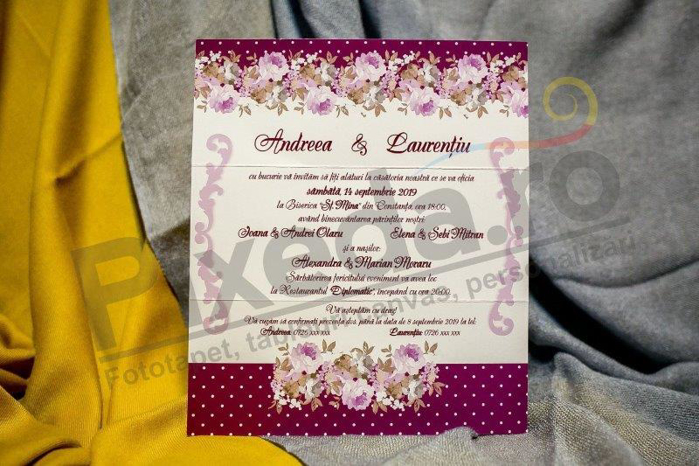 Imagine Invitatii nunta 201 trandafiri mov
