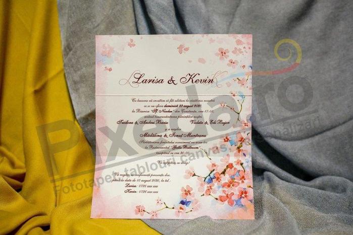 Imagine Invitatii nunta 202 flori pictate