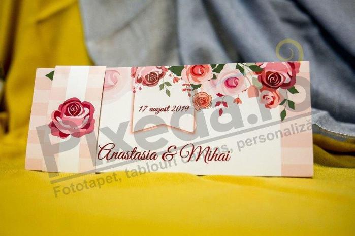 Imagine Invitatii nunta 203 ornamente florale roz