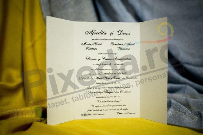 Imagine Invitatii nunta 205 inimă alb și negru
