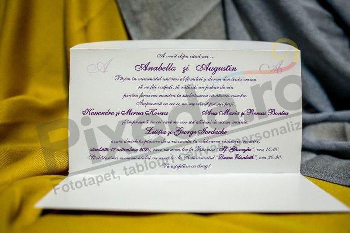 Imagine Invitatii nunta 213 mov cu motive florale