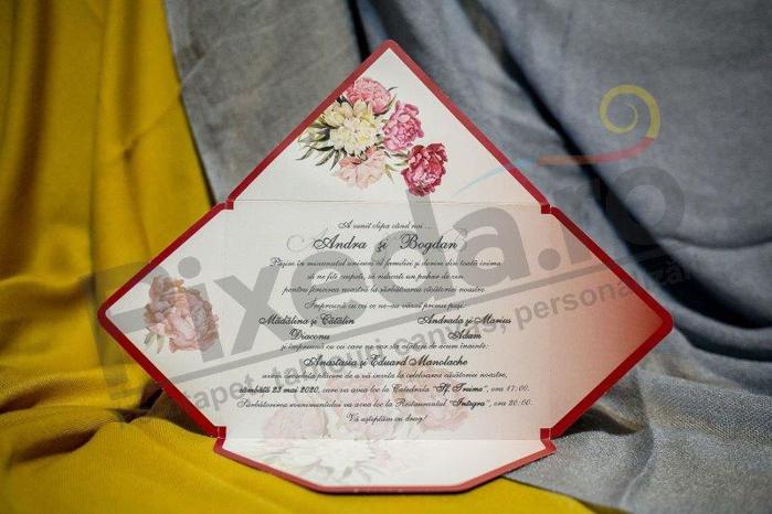 Imagine Invitatii nunta 218 plic vișiniu