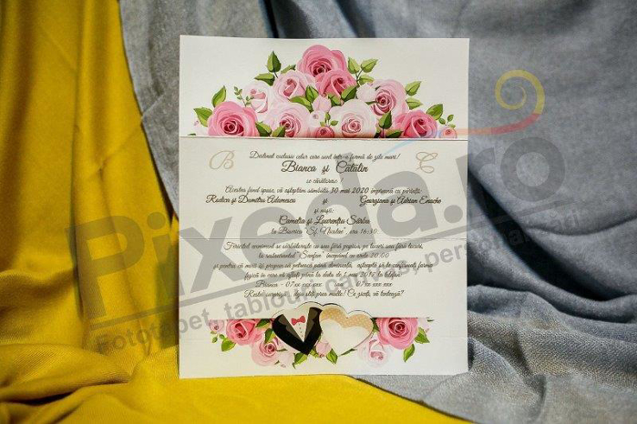 Imagine Invitatii nunta 227 trandafiri roz