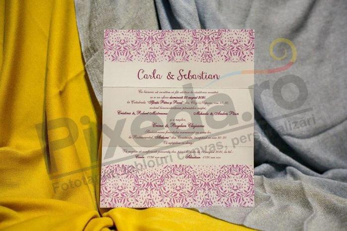 Imagine Invitatii nunta 234 trandafir mov