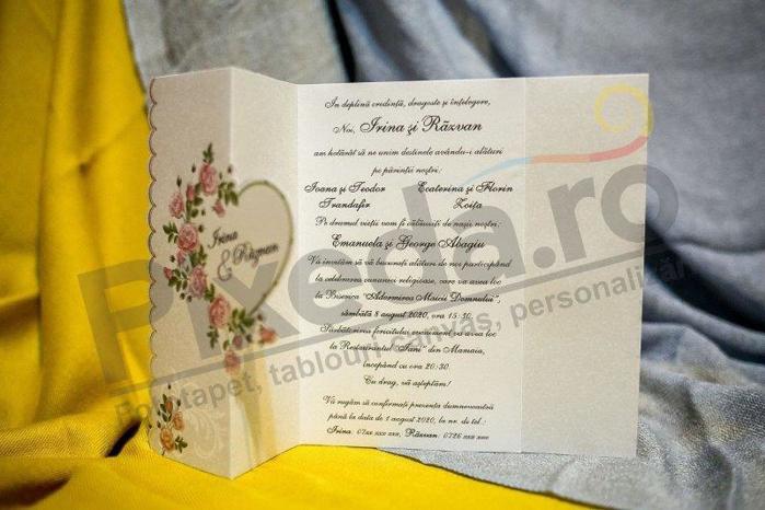 Imagine Invitatii nunta 3282 trandafiri și inimă