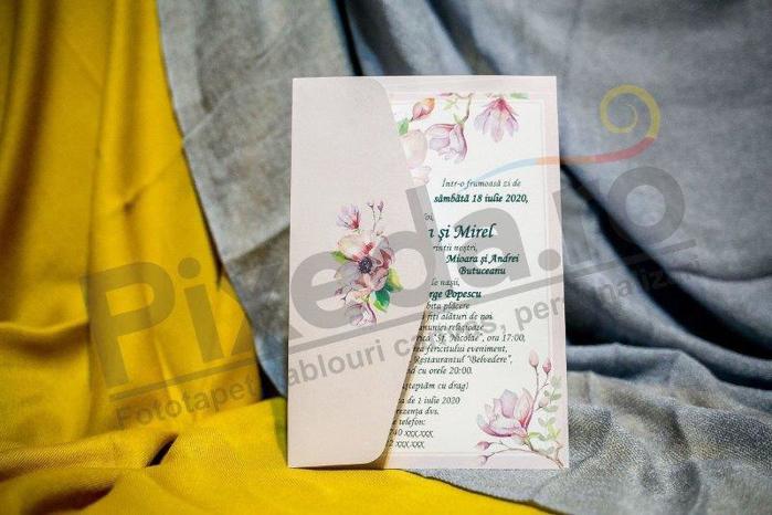 Imagine Invitatii nunta 971 crem cu model floral