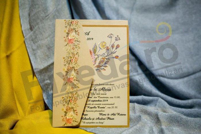 Imagine Invitatii nunta 979 galbenă cu model floral