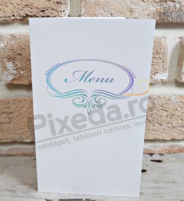 Imagine Meniu de nunta Me 01 alb argintiu