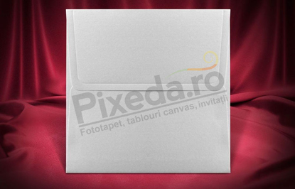 Imagine Plic invitatii nunta z022 pătrat alb sidef