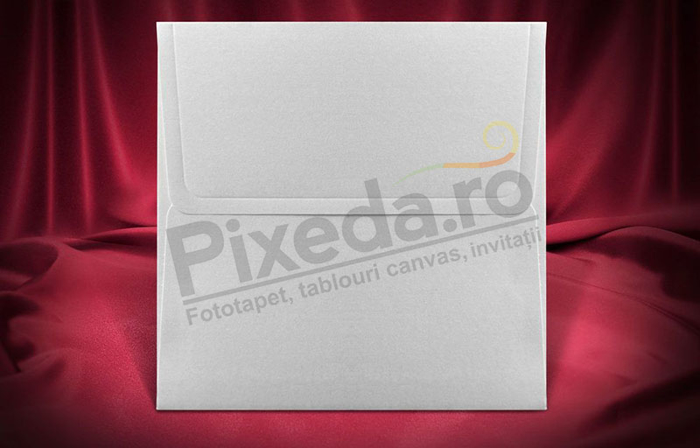 Imagine Plic invitatii nunta z045 pătrat alb sidef