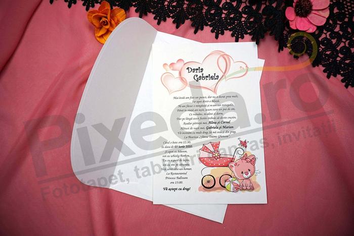 Imagine Invitatii de botez N23_x_M15 pisicuță roz