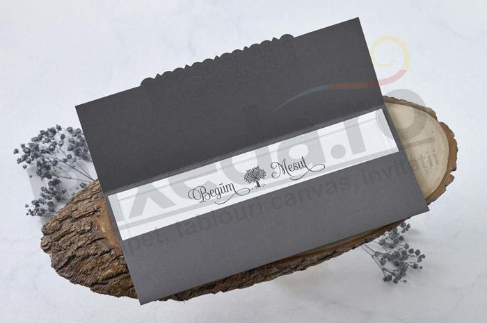 Imagine Invitatii nunta 1112 model elegant și chenar embosat