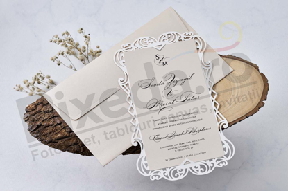 Imagine Invitatii nunta 1113 model dantelă