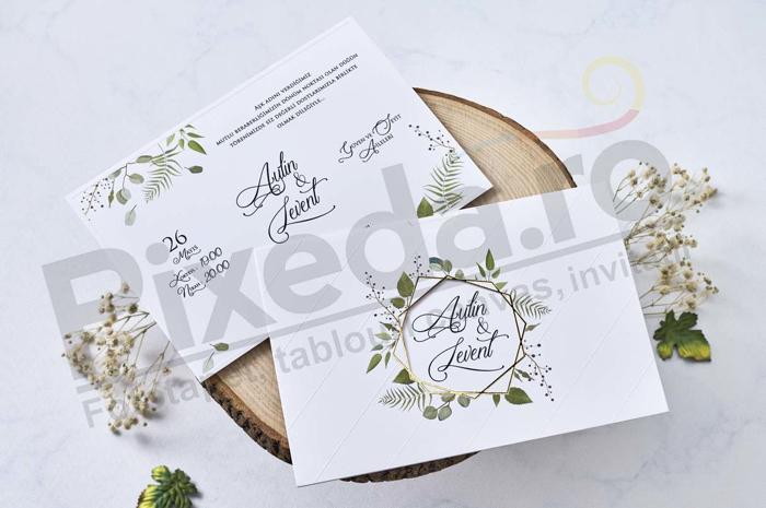 Imagine Invitatii nunta 1115 chenar frunze