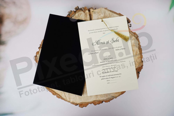 Imagine Invitatii nunta 1117 catifea neagră