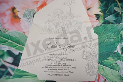 Imagine Invitatii nunta 1123 design floral embosat