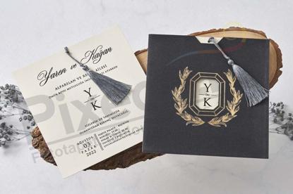Imagine Invitatii nunta 1128 catifea gri elegantă
