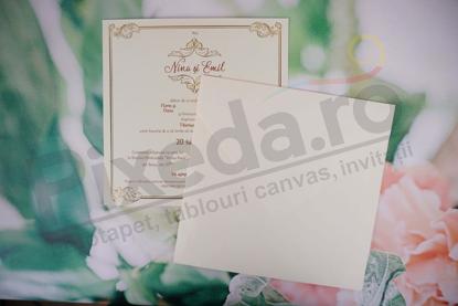 Imagine Invitatii nunta 1134 chenar artistic auriu