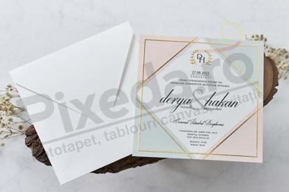 Imagine Invitatii nunta 1135 ramă aurie