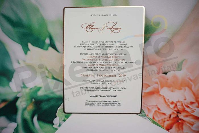 Imagine Invitatii nunta 1136 margine aurie elegantă
