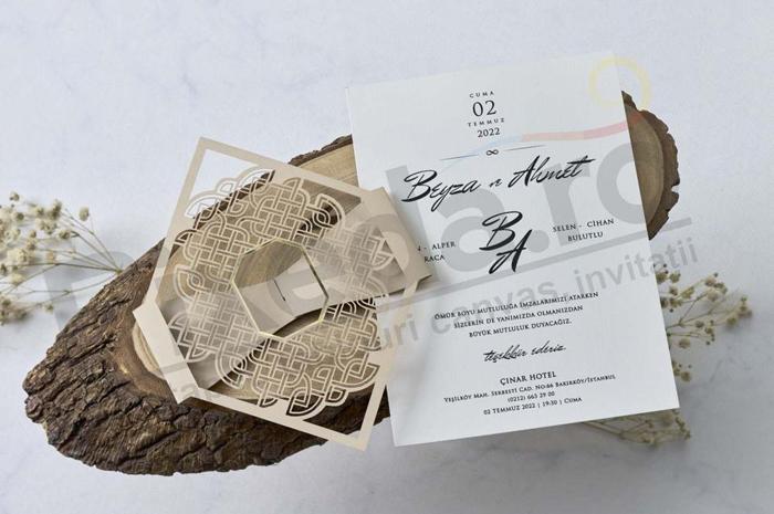 Imagine Invitatii nunta 1139 dantelă