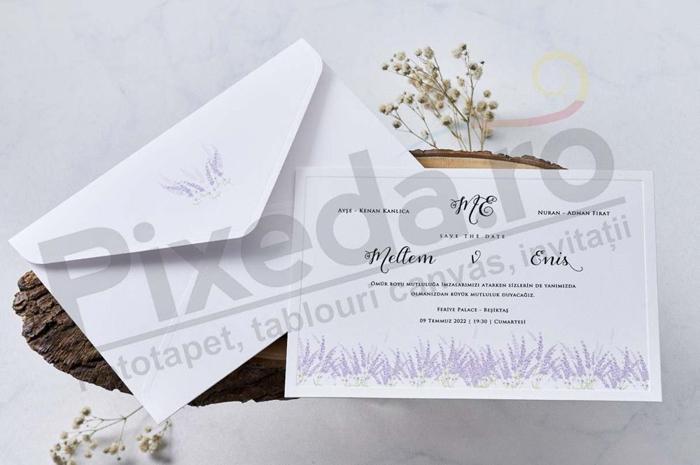 Imagine Invitatii nunta 1141 flori de lavandă
