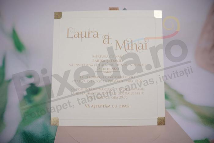 Imagine Invitatii nunta 1149 pătrate aurii