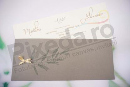 Imagine Invitatii nunta 1152 frunze si fundita