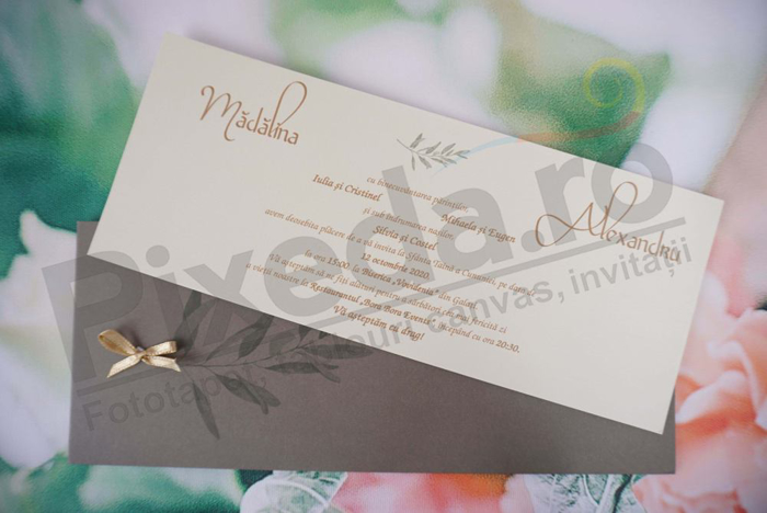 Imagine Invitatii nunta 1152 frunze și fundiță