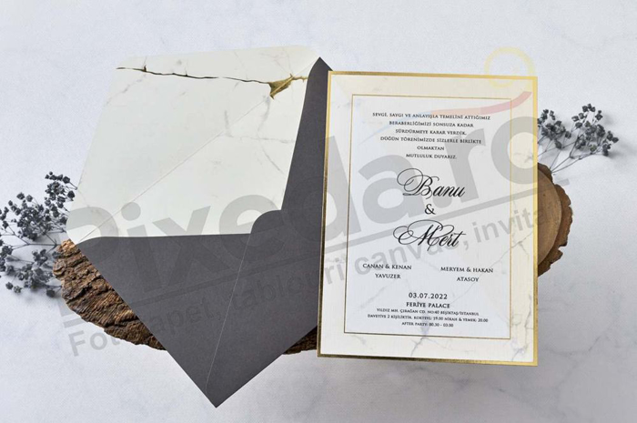 Imagine Invitatii nunta 1175 crem marmură