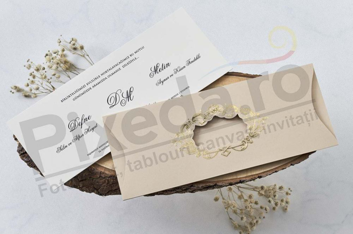 Imagine Invitatii nunta 1178 decupaj auriu