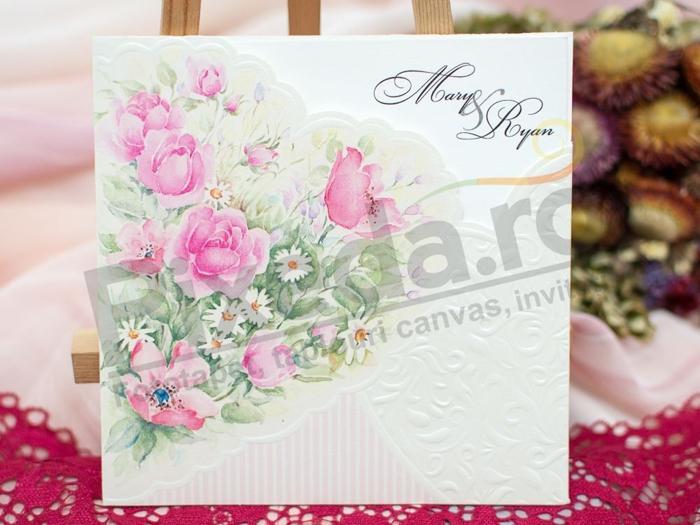 invitatii nunta flori roz