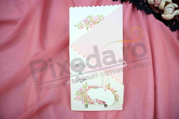 Imagine Invitatii nunta 628 masina roz