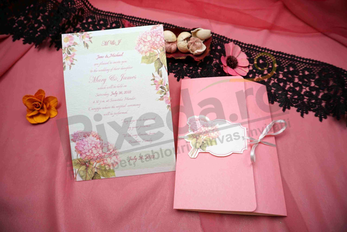 Imagine Invitatii nunta 629 design flori roz