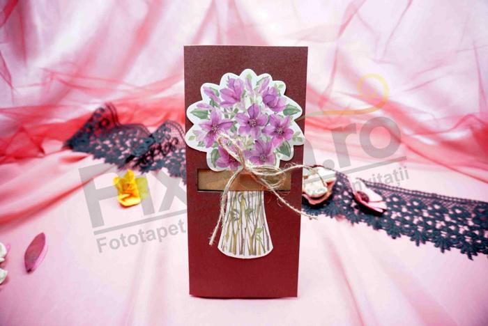 Imagine Invitatii nunta 632 buchet de flori pictate