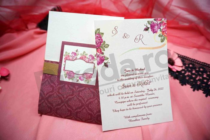 Imagine Invitatii nunta 637 design dantelat mov