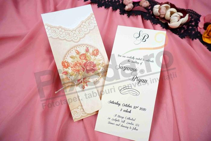 Imagine Invitatii nunta 679 buchet de trandafiri rustic