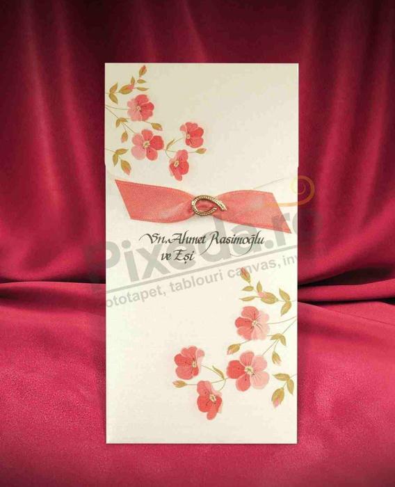 Imagine Invitatii nunta 2662 stil flori rosii