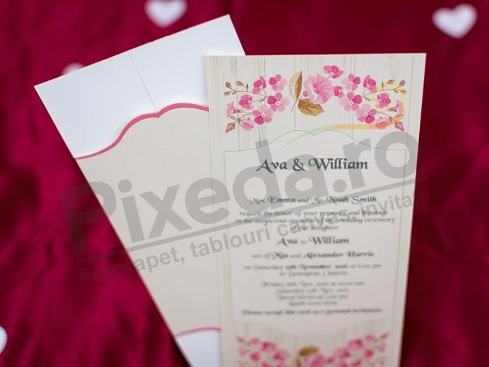 Imagine Invitatii nunta 2697 design floral roz