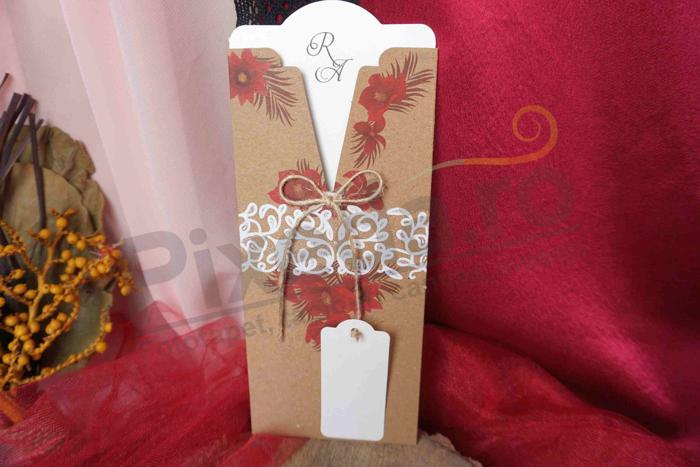 Imagine Invitatii nunta 4085 design dantelat rustic