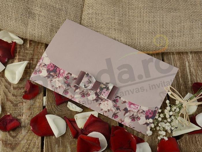 Imagine Invitatii nunta 16258 mov si fundita