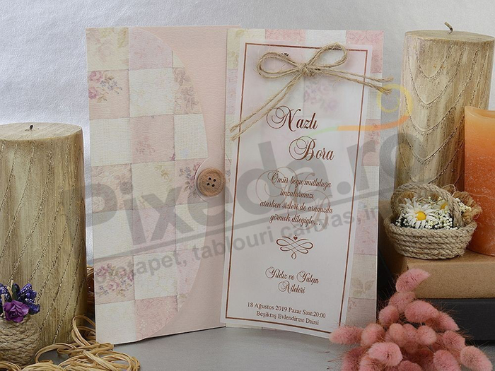 Imagine Invitatii nunta 17012 foaie de calc si fundita