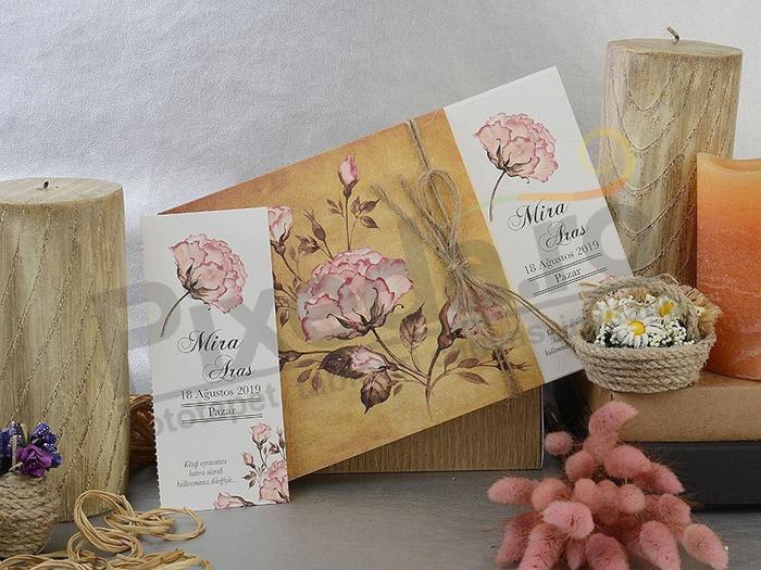 Imagine Invitatii nunta 17059 bujori stil rustic