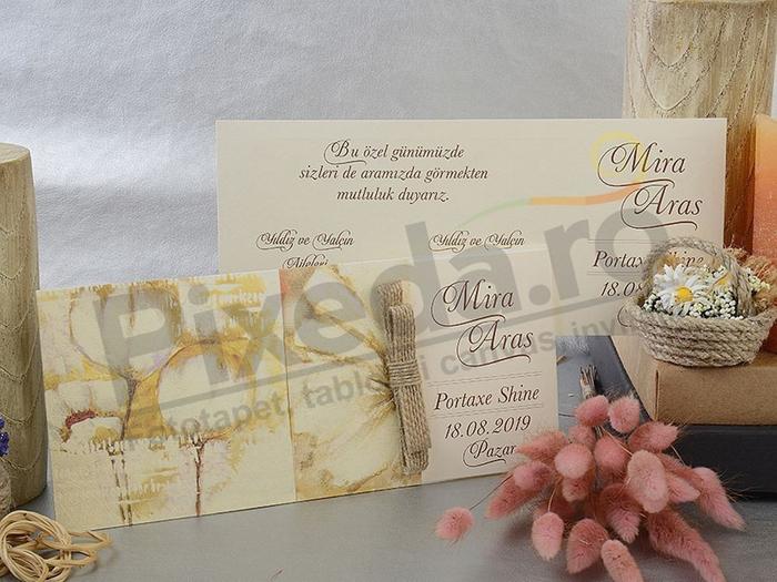 Imagine Invitatii nunta 17085 model floral crem